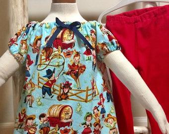Baby Dress, Toddler Dress, Baby Peasant Dress, Girls Peasant Dress, Western Print Baby Dress, Western Girl's Dress