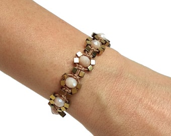 Girlfriend jewelry gift for her Sparkle crystal bracelet Champagne /& gold beaded bracelet for woman Gold cuff bracelet Opal bracelet