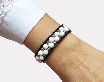 5 Wrap Beaded Leather and Shell Bracelet Boho Wrap Gemstone Beaded Leather Cuff Beach Theme ISLAND GIRL