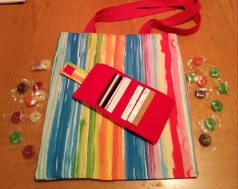 Multi-color tote and wallet