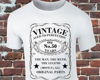 863b1c1a Vintage 50 Years Old T-Shirt - 50th Birthday T-Shirt - 50 Birthday Funny  Gift - Whisky Label Inspired