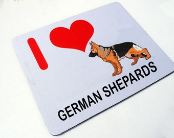 I Love German Shepards Mouse Mat - I Love German Shepard Dogs - Mouse Mat Gift
