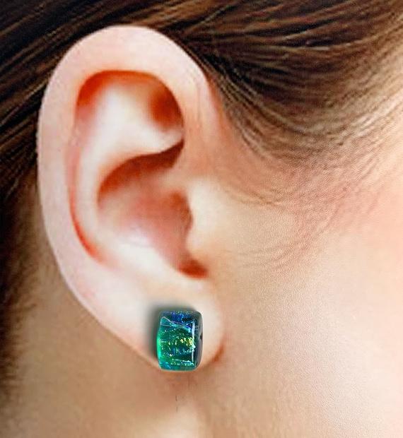 Teardrop Dichroic Dangle Earrings Limerick