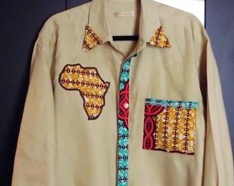 African Print Men's Shirt  OOAK