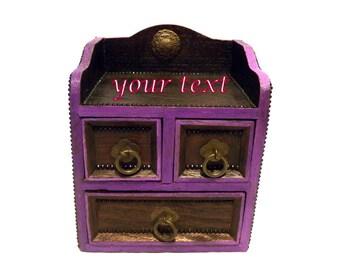 Attirant Personalized Jewelry Box, Drawers Jewelry Box, Custom Jewelry Organizer,  Drawers Cabinet, Jewelry Cabinet, Small Jewelry Box, Wooden Box