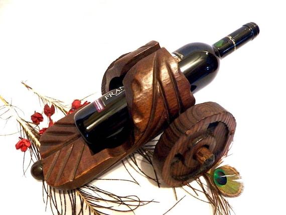 Carrito botellero porta vinos madera antiguo botellero etsy - Botellero de madera para vino ...
