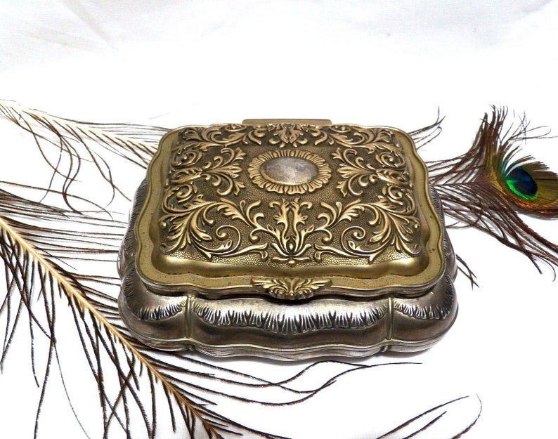 Vintage Box Indian Box Style Silver Plated Jewelry Box Godinger Metal Box Lined Velvet Vintage Decor Box Silver Plated Box