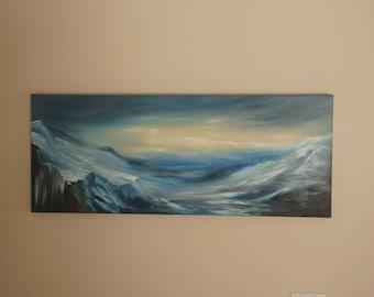 Winter Twilight: Original Oil Finger Painting