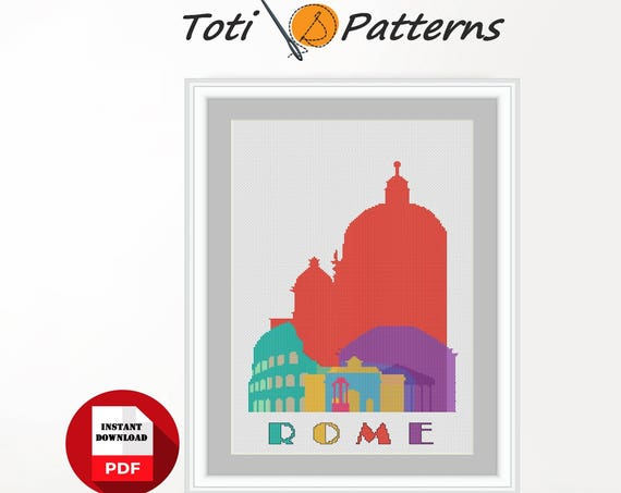 PDF Cross Stitch Pattern of Rome for Instant Download|Easy Cross Stitch|Embroidery Design|City Cross Stitch|Citylines Cross Stitch CS21