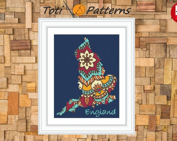 Mandala England Map PDF Cross Stitch Pattern,Country Silhouette Cross Stitch Design,Instant Download PDF,Embroidery Needlework Patterns CS29