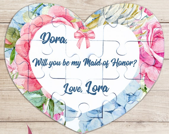 Maid of Honor proposal puzzle, Ask Maid of Honour gift, Bridemaid proposal puzzle, Will you be my Bridesmaid , Maid of Honor puzzle BP 9