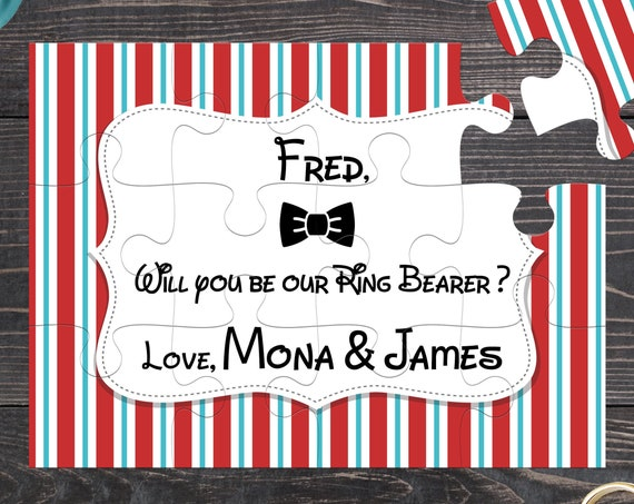 Will you be my ring bearer - elegant bow tie puzzle invitation card, ask ring bearer or page boy, be my ring bearer puzzle BP 4