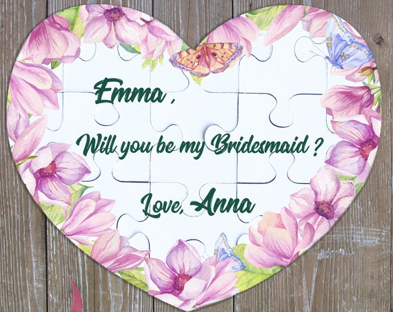 Will You Be My Bridesmaid Puzzle, Heart Puzzle, Bridesmaid Proposal Puzzle, Asking Bridesmaid, Maid of Honor Puzzle, Flower Girl Puzzle BP 8