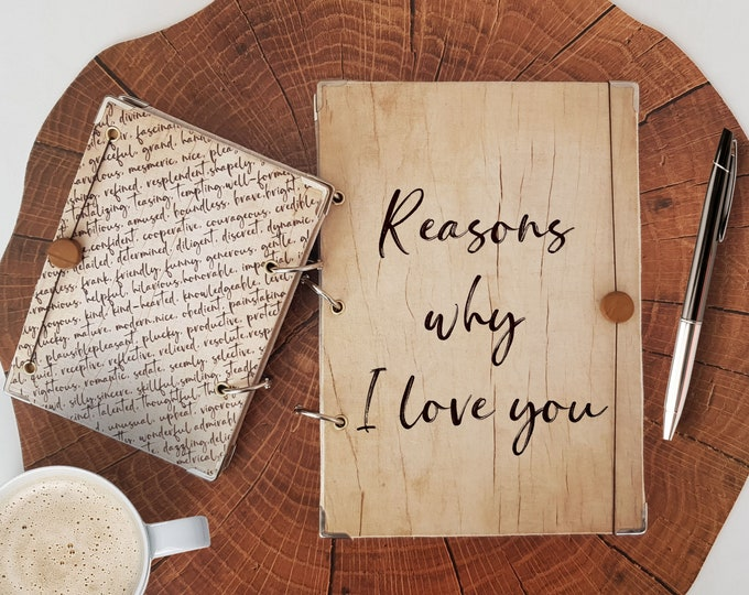 Featured listing image: Reasons why I love you notebook, Cute Wood Look Journal in A4, A5 or A6 format, Custom Notebook for Travelers, Bullet Journal J1