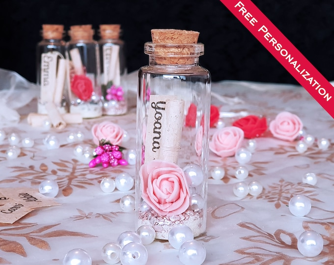 Featured listing image: Flower Girl Proposal in a bottle, Junior Bridesmaid proposal, Ring Bearer gift, Flower girl Gift, Flower Girl Card, Be my flower girl