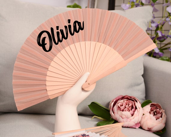 Personalised Hand Fan for bridesmaid gift, bridemaid proposal, Custom Name Gift, Bride Hand fan, Maid of Honor gift, Summer Wedding  HF