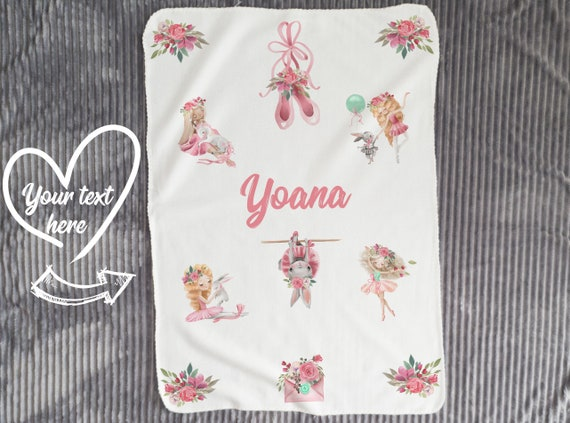 Personalized Baby Girl Name Blanket, Floral watercolor print blush pink and mint green B1