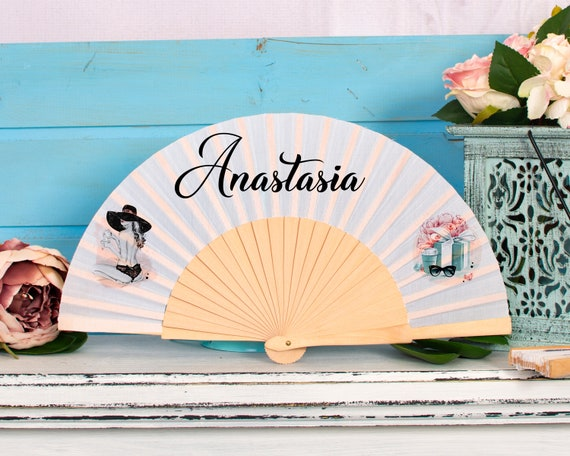 Customized Hand Fan for brides with strawberries, bridemaid proposal, Custom Hand Fan, Bride Hand fan, Folding Hand fan, Summer Wedding HF38