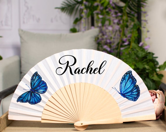 WEDDING FANS | white folding hand fans | bridal accessories | wedding favors | bridesmaid gift | wedding gift | Personalized hand fan HF42
