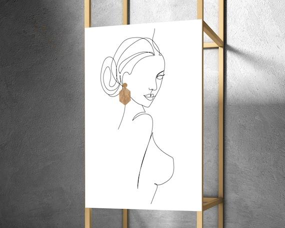 Nude Body Abstract Drawing, Feminine Naked Figure Printable, Woman Figure Line Art, One Line Art, Erotic Wall Art, Bedroom Minimal Art OL10