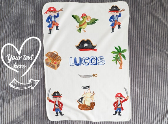 Personalized Baby Blanket, Baby Boy Blanket with Name, Baby Blankets, Pirate Minky Blanket, Pirates gift B9