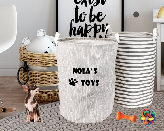 Personalised Dog Toy Basket, Dog Toys Storage Bag, Dog Toy Bin, Dog Toys Organizer, Dog Grooming Bag, Pet Storage, Gift for Dog Lovers B5