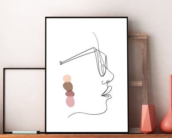 Woman Face Figure Line Drawing, One Line Woman Printable Wall Art, Line Art Print, Artwork Face , Minimalist Sketch, Eye Glasses Print OL8