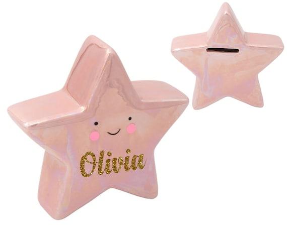 Personalized Piggy Bank- Star Coin Bank - Glitter Pink Piggy Bank - Ring Bearer Gift - Flower Girl Gift - Children's Coin Bank - Kids Bank