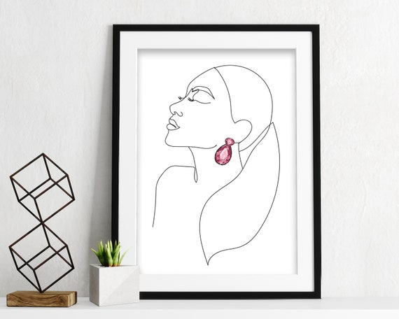 Woman One Line Drawing Face Figure, Abstract Simple Line Sketch, Minimalist Sketch, Line Art Woman, Fashion Illustration Print Art OL11