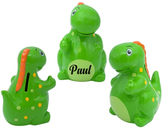 Personalized Dinosaur piggy bank, Dino piggy bank, boys piggy bank, dinosaur bank, Coins bank, boys personalised piggy bank