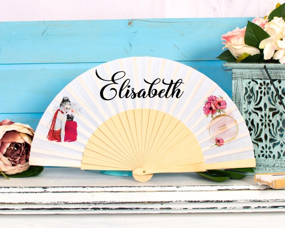 Personalised Hand Fan for bridesmaid gift, bridemaid proposal, Custom Name Gift, Bride Hand fan, Maid of Honor gift, Summer Wedding HF39