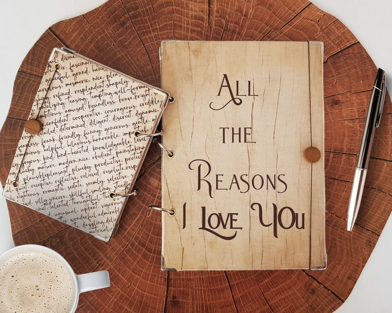 Reasons I Love You Journal - Hardcover Wood Look Notebook For Couples, Your  Boyfriend or Girlfriend, wife, husband or Spouse J6