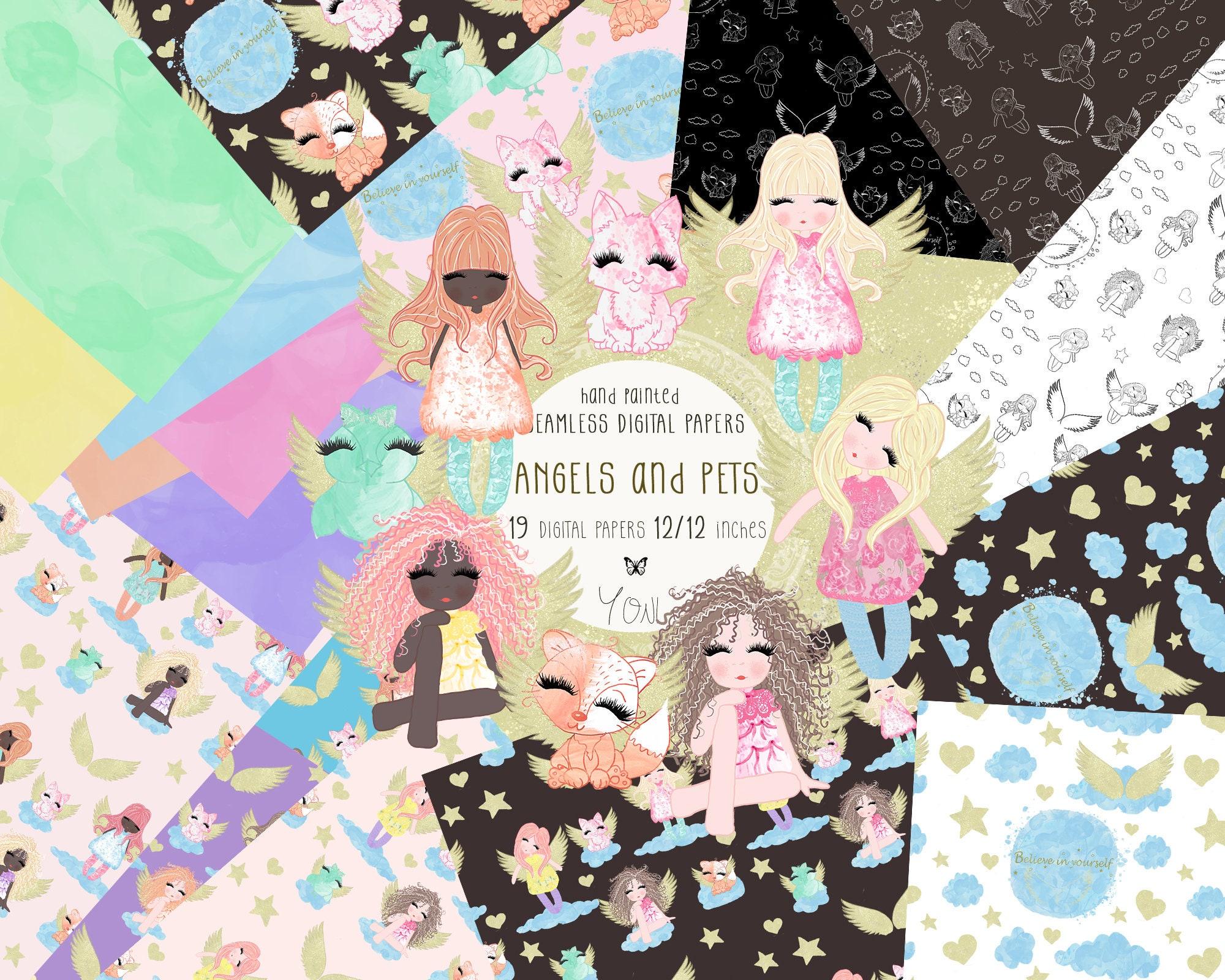 Angels Digital Paper, Girls Fabrics Print, Cute Angels