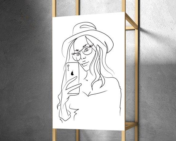 Downloadable Woman Art, Line Art Print, Printable Wall Art, Digital Art Print, Modern Wall Art, Abstract Line Drawing, Bedroom decor OL7