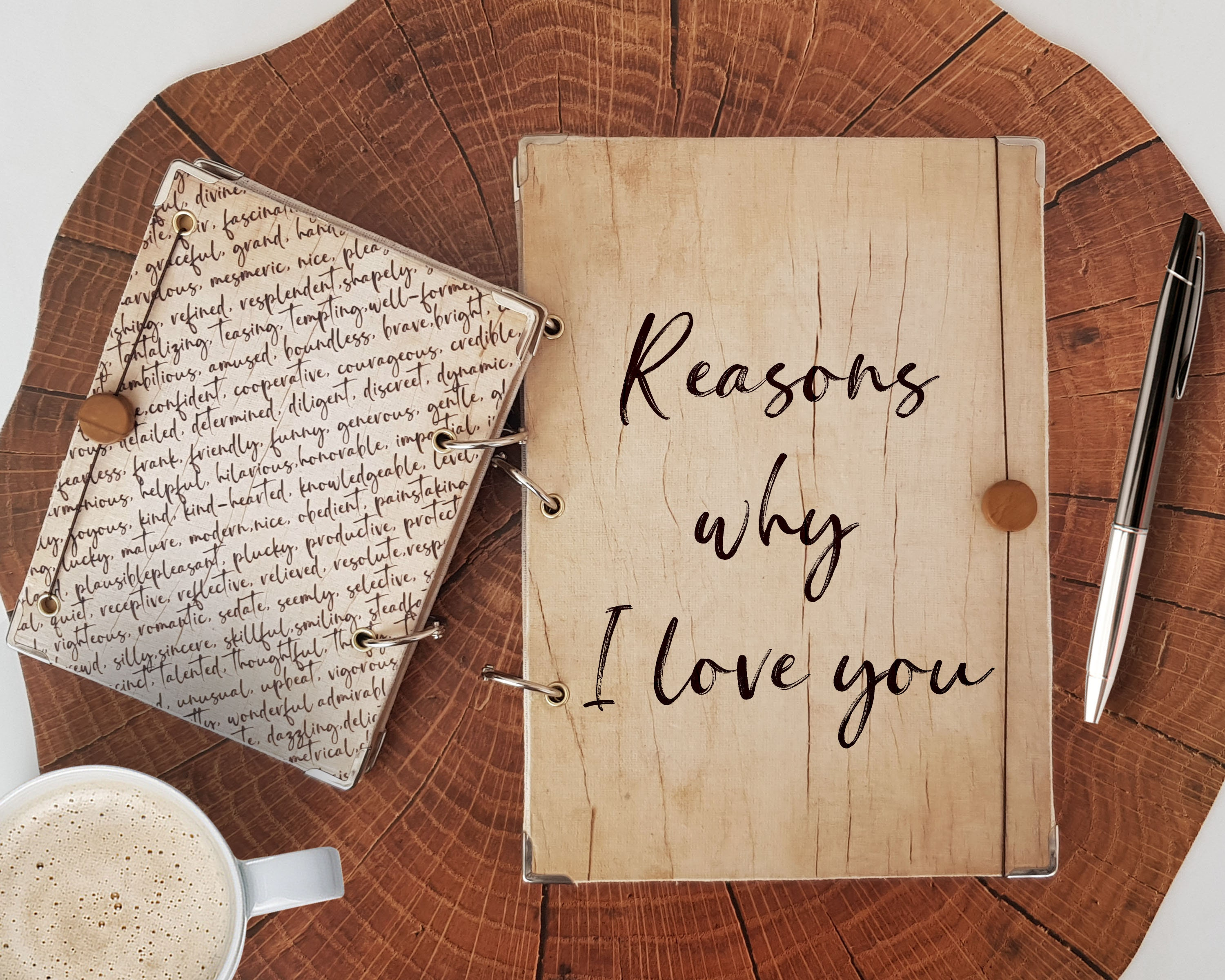 Reasons why I love you notebook, Cute Wood Look Journal in