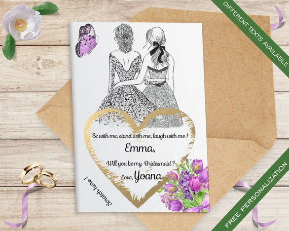 Set of 10 Personalised Bridesmaid Cards, Will You Be My Bridesmaid Card, Bridesmaid Proposal, Scratch off Bridesmaid Proposal Card  C1