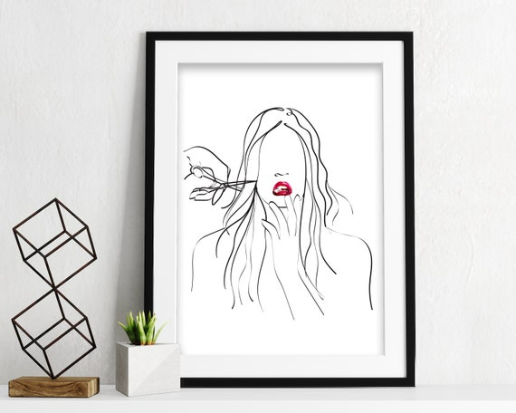 Hands and lips PRINTABLE, Minimal female face drawing, gifts for hairdressers , Single line art, Sketch art, Woman art, One line drawing OL3