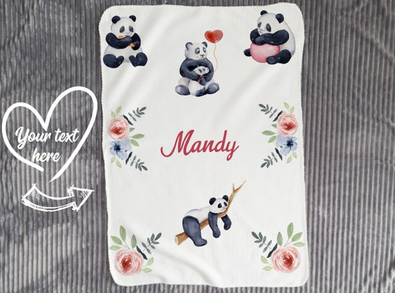 Personalized Baby Name Blanket// Baby Blanket// Panda Blanket// Custom Baby Blanket// Baby Boy Shower Gift// Nursery Decor// Girl Blanket B6