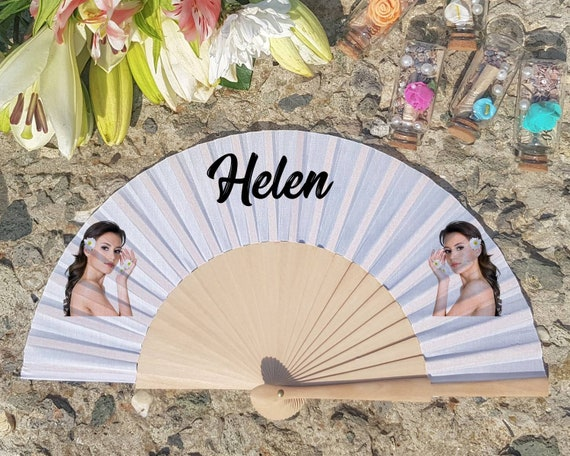 Personalised Hand Fan for bridesmaid gift, Personalized Hand Fan, Custom Name Gift, Bride Hand fan, Maid of Honor gift, Custom Face Hand Fan