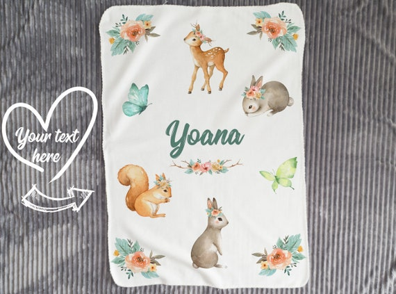 Personalized Baby Blanket girl - Baby Woodland Blankets - Baby Name Blanket,  Receiving Blanket, Swaddle Blanket, Boho Minky Baby Blanket B7