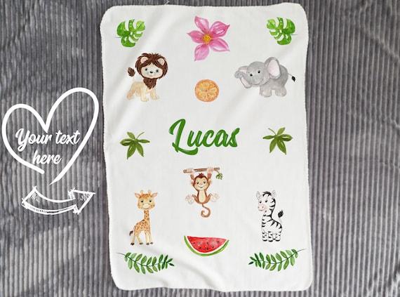 Personalized Fleece Safari Animals Baby Blanket, Safari nursery , Personalised baby blanket B8