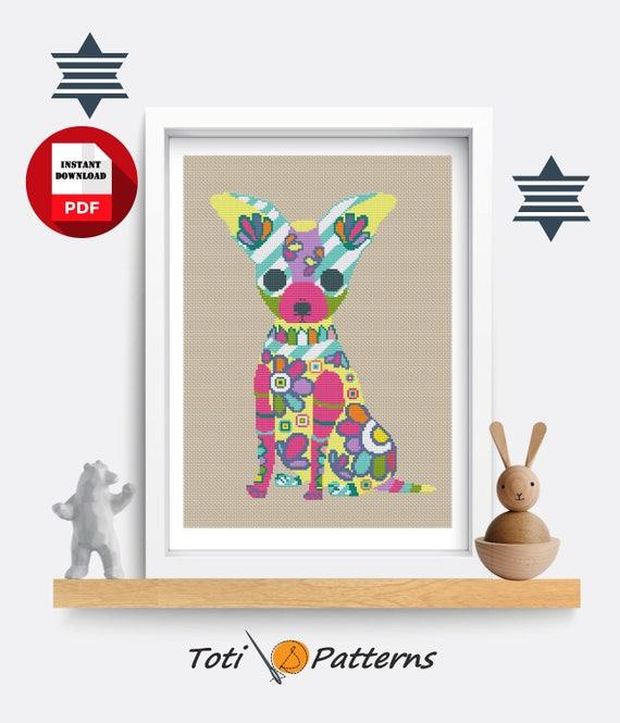 Chihuahua Cross Stitch Modern Cross Stitch Animal Embroidery Cute Cross Stitch PDF Pattern CS27 Mandala Cross Stitch Easy PDF Xstitch