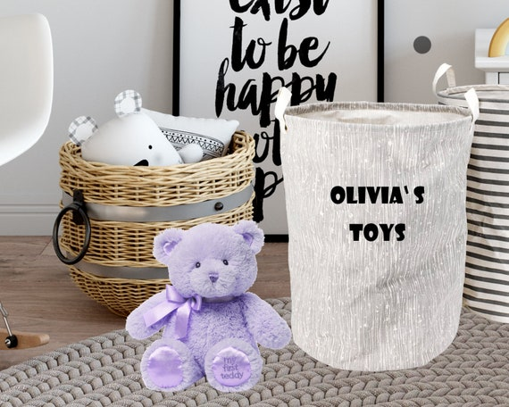 Personalised CHILDREN'S Toy Basket NURSERY, Kid's Toys Storage Bag, Toy Bin, Children's Bedroom Organiser, Bedroom Storage B1