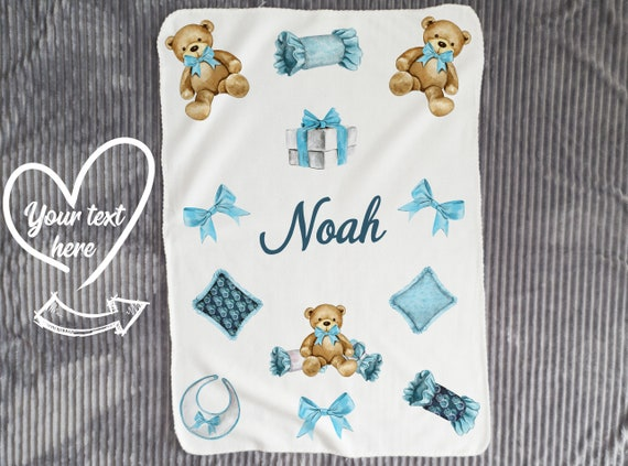 Baby Blanket Personalize with Name & Monogram - Personalized Receiving Blanket - Custom Baby Blanket - Swaddling Blanket  Baby Photo Prop B4