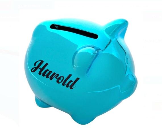 Mini Personalised piggy bank childrens pig money box boys piggy bank animal figurine ornament Add name Birthday Baptism Xmas