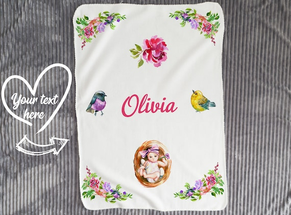 Personalized Baby Blanket Girl- Baby Girl Quilt - Flowers Blanket - Baby Shower Gift- Personalized Baby Gift- Baby Name - Flowers Nursery B2