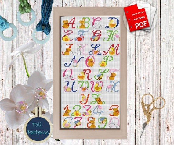 Pets ABC Alphabet PDF Cross Stitch Set  Pattern,Letters PDF Easy Cross Stitch Design,Instant Download,Embroidery Needlework Patterns CS10