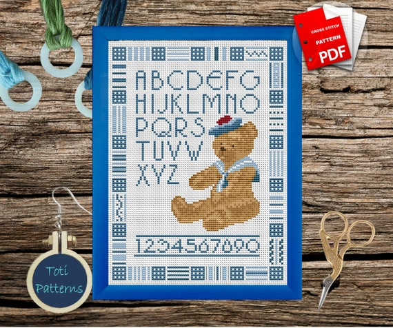Bear Summer ABC Alphabet PDF Cross Stitch Set Pattern,Letters PDF Easy Cross Stitch Design,Instant Download,Embroidery CS14