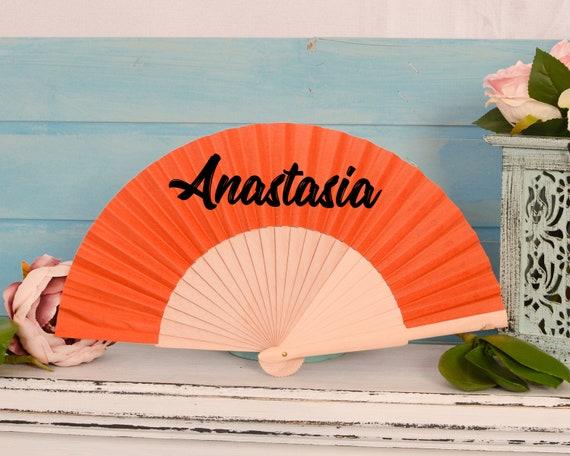 Wooden fan, wedding fan with a mermaid, personalised fan, Hand fan, wedding favours, personalised wedding favours, personalized fan HF