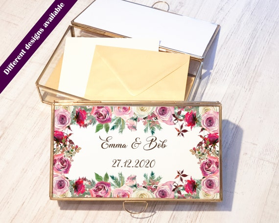 Glass Photo Box - Newlywed Gift - Geometric Envelope Holder - Photography - Card reception - Handmade Geometric Box - Wedding Home decor